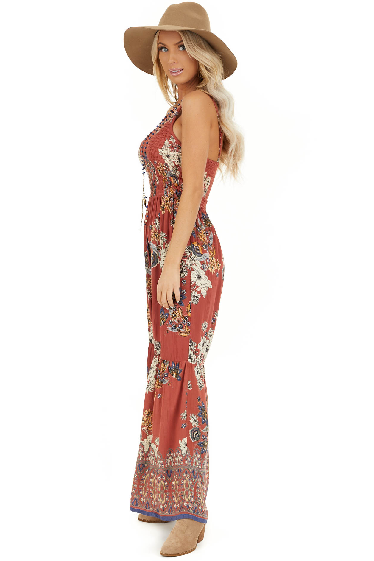 Brick Floral Print Sleeveless Jumpsuit with Smocked Details side full body