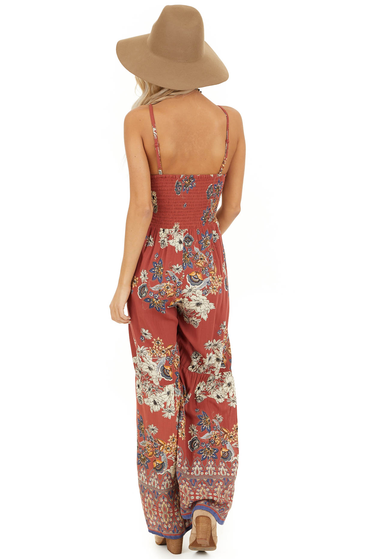 Brick Floral Print Sleeveless Jumpsuit with Smocked Details back full body