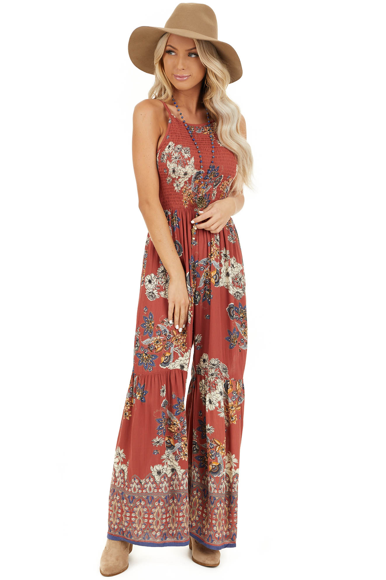 Brick Floral Print Sleeveless Jumpsuit with Smocked Details front full body
