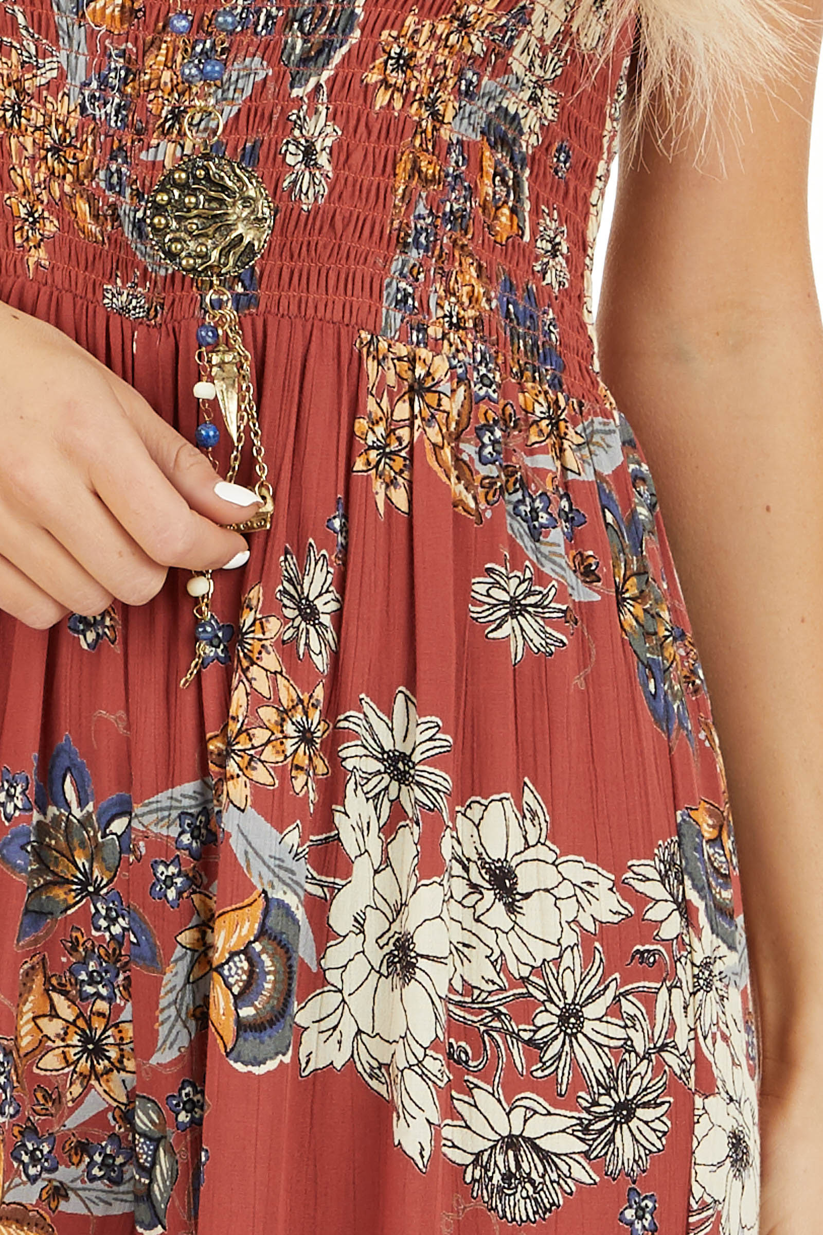 Brick Floral Print Sleeveless Jumpsuit with Smocked Details detail