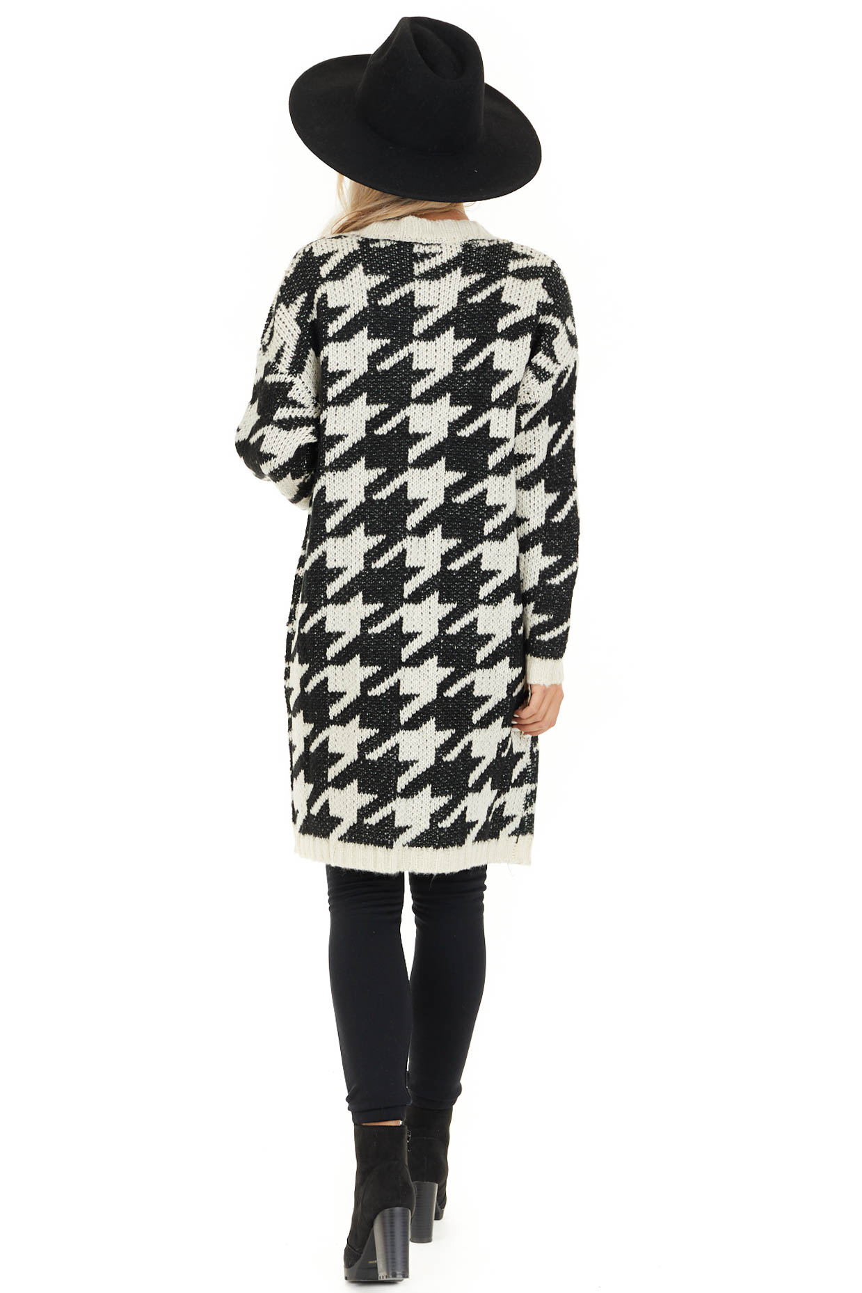 Black and Ivory Houndstooth Print Long Knit Cardigan back full body