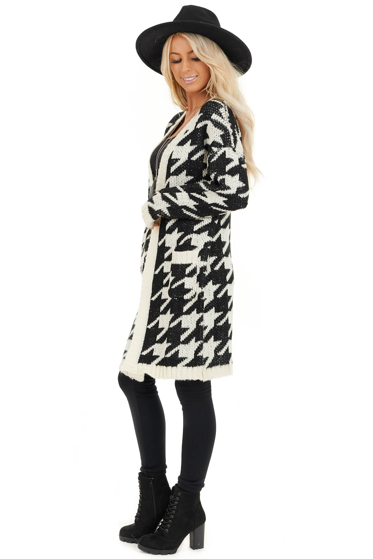 Black and Ivory Houndstooth Print Long Knit Cardigan side full body