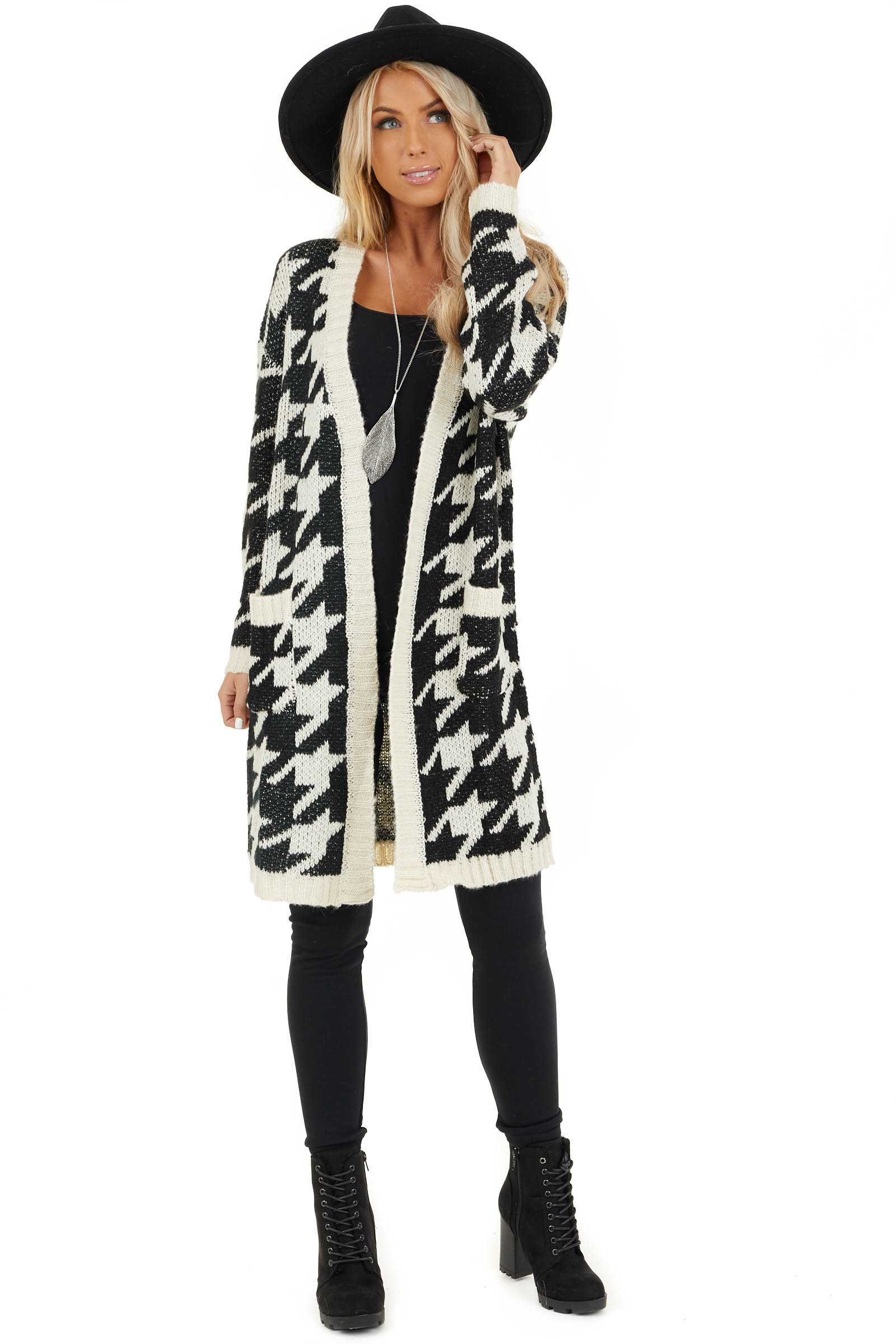 Black and Ivory Houndstooth Print Long Knit Cardigan front full body