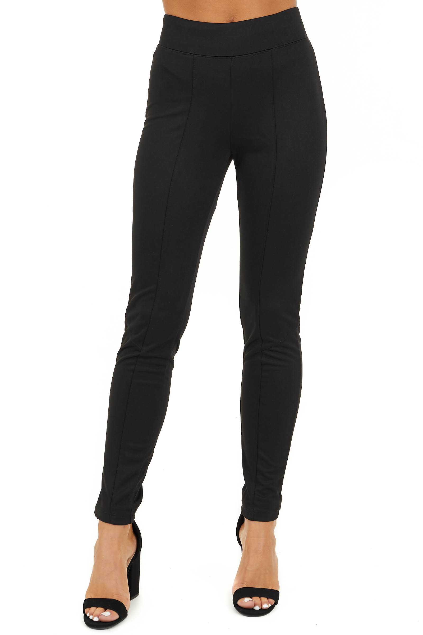 Black High Waisted Leggings with Elastic Waistband front view