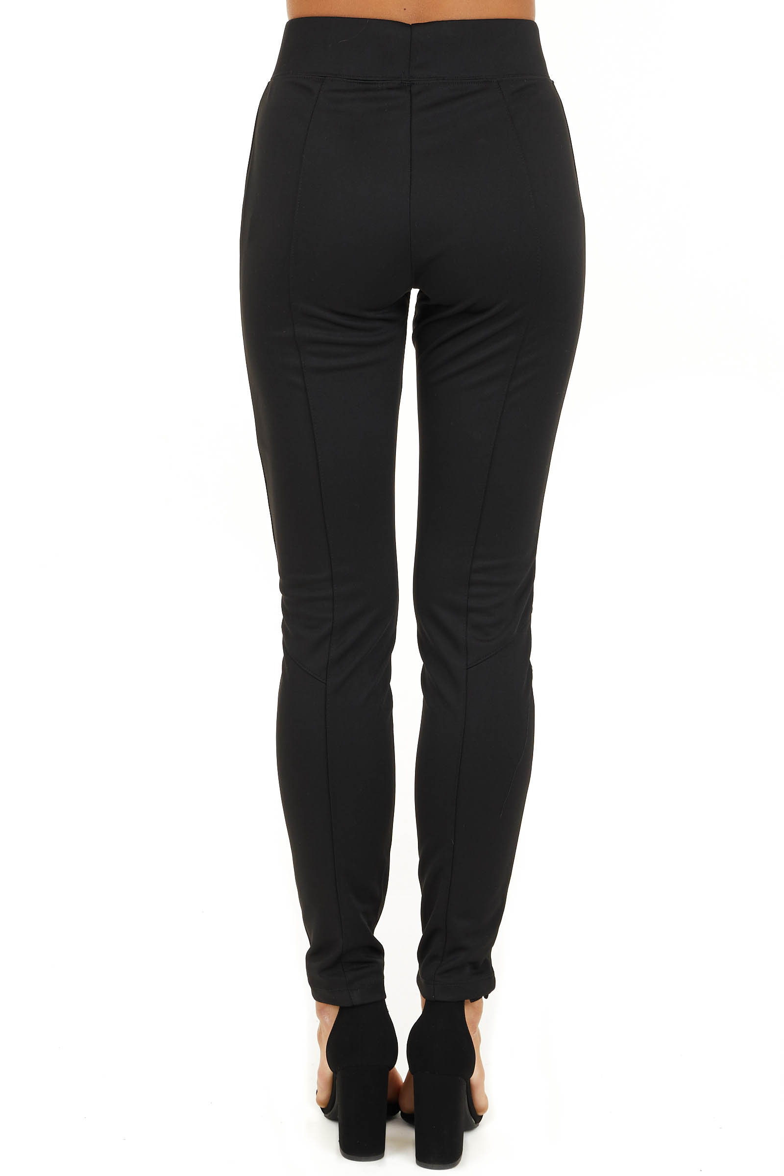 Black High Waisted Leggings with Elastic Waistband back view