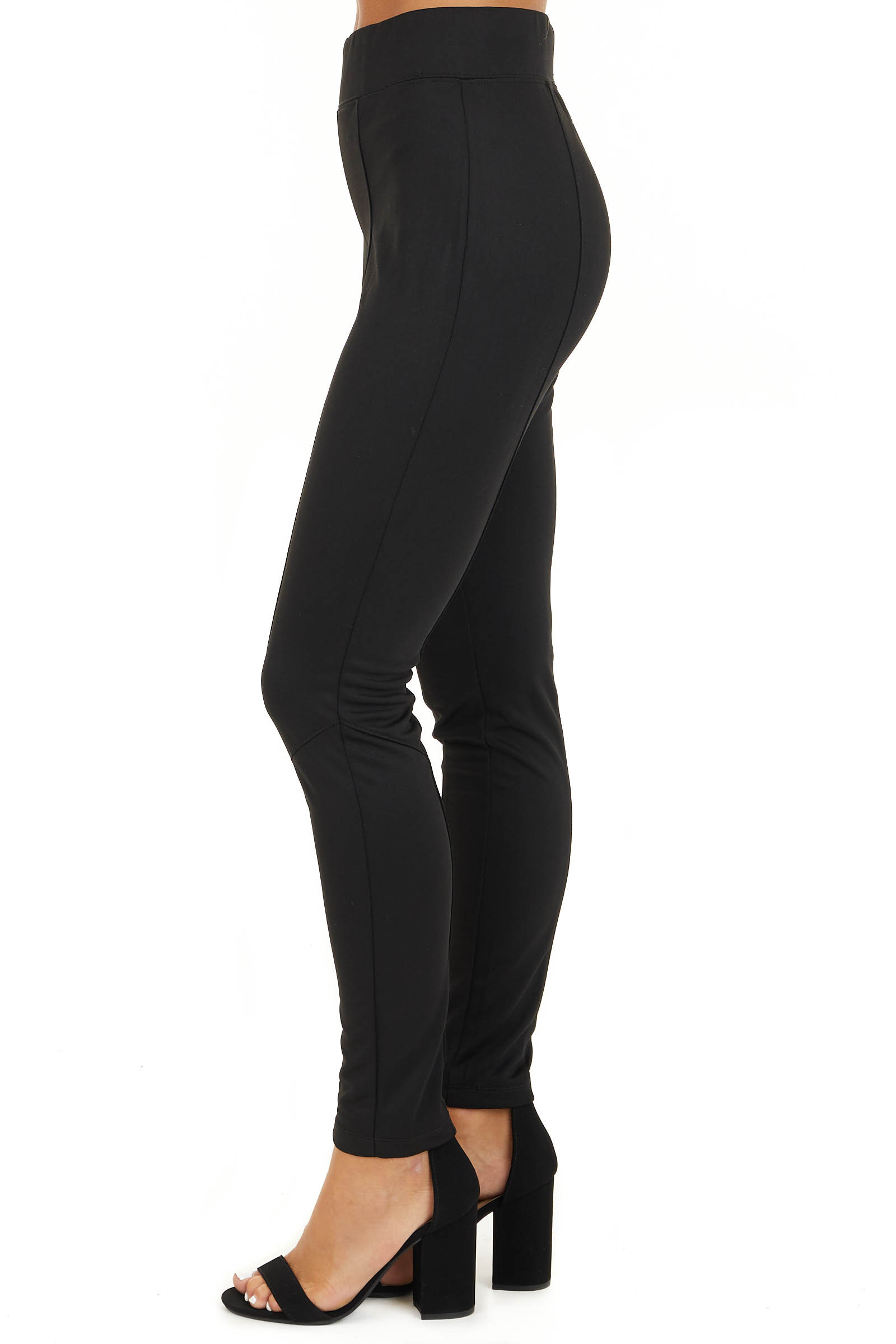 Black High Waisted Leggings with Elastic Waistband side view