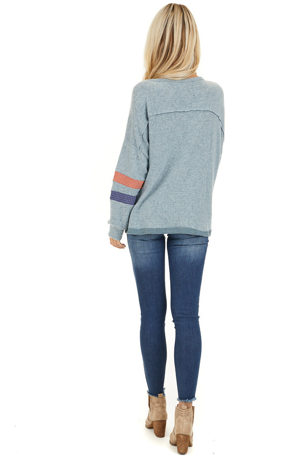 Dusty Blue Super Soft Top with Contrast Striped Sleeves back full body