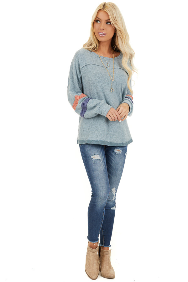 Dusty Blue Super Soft Top with Contrast Striped Sleeves front full body