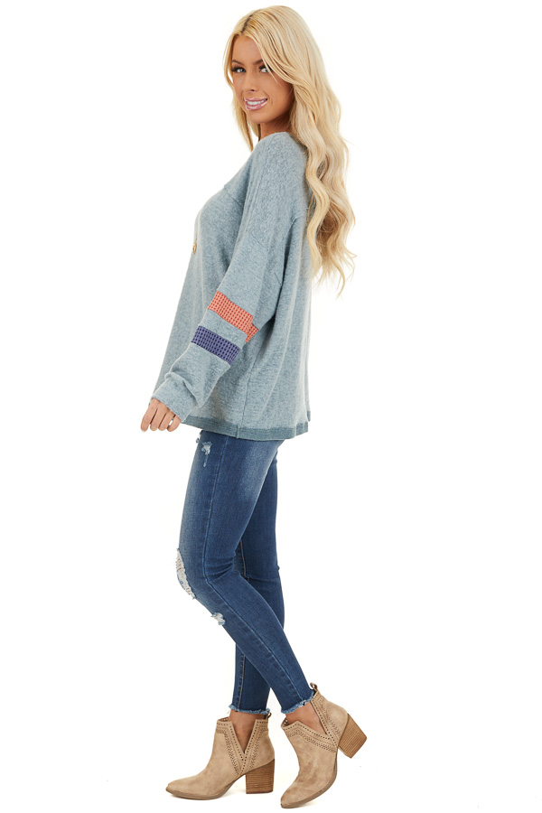 Dusty Blue Super Soft Top with Contrast Striped Sleeves side full body