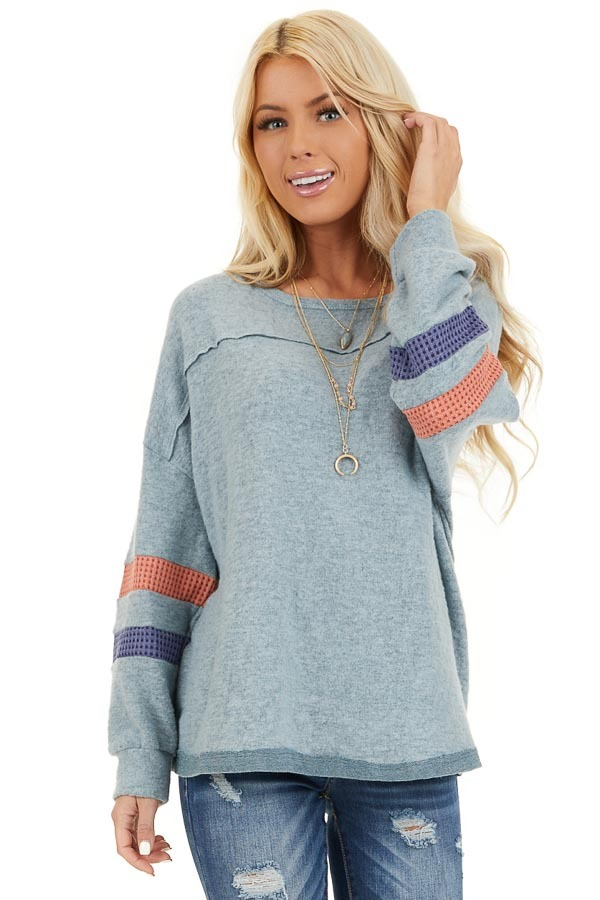 Dusty Blue Super Soft Top with Contrast Striped Sleeves front close up