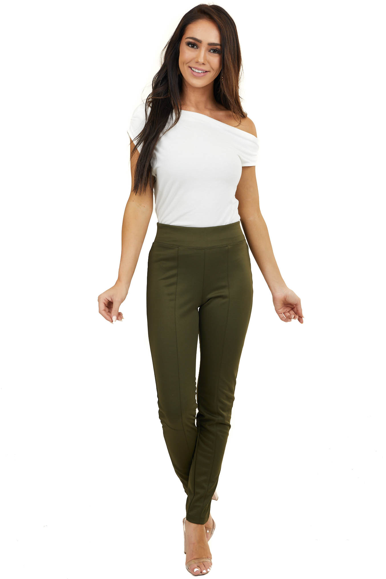 Army Green High Waisted Leggings with Elastic Waistband
