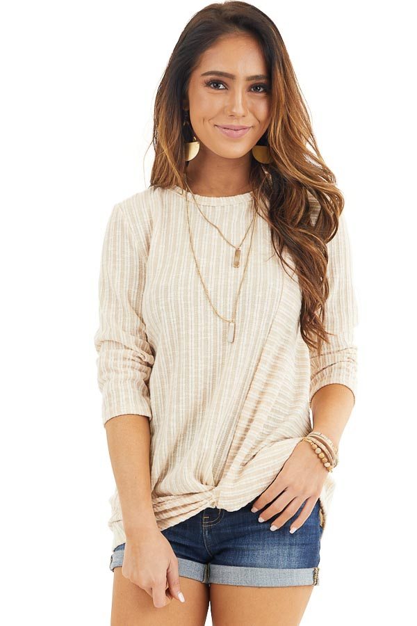 Desert Sand Ribbed Knit Top with Front Twist Detail front close up