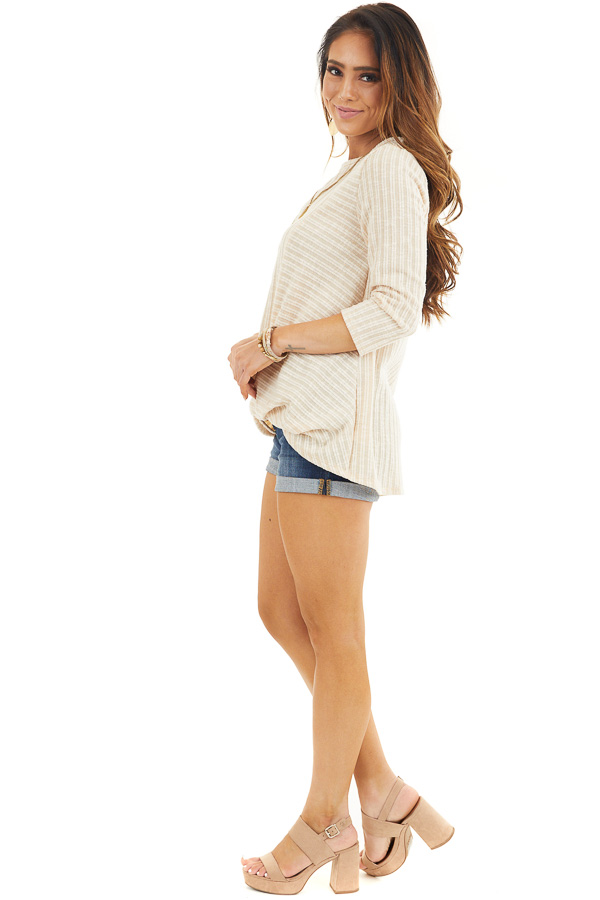Desert Sand Ribbed Knit Top with Front Twist Detail side full body