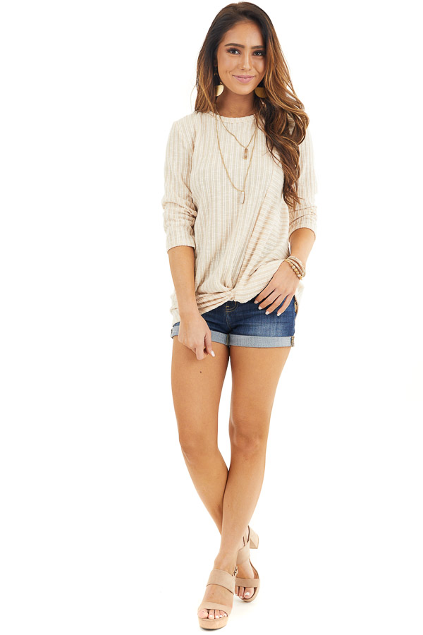 Desert Sand Ribbed Knit Top with Front Twist Detail front full body