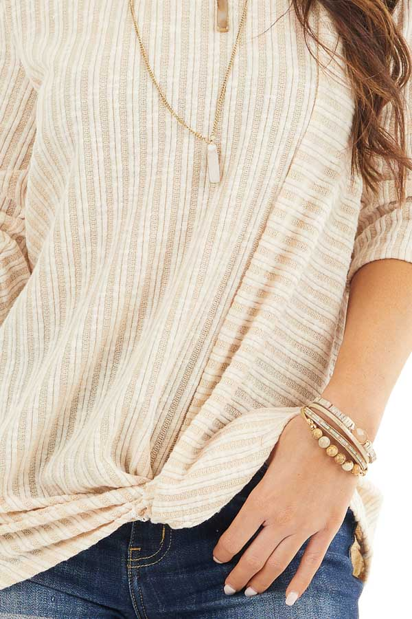Desert Sand Ribbed Knit Top with Front Twist Detail detail