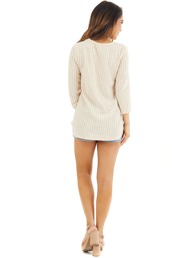 Desert Sand Ribbed Knit Top with Front Twist Detail back full body