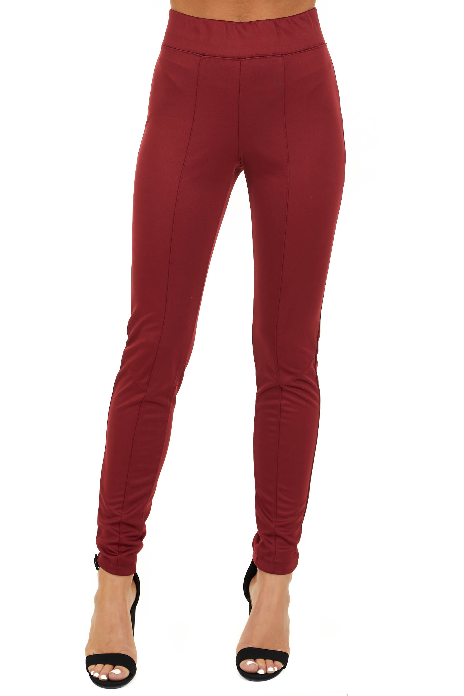 Burgundy High Waisted Leggings with Elastic Waistband front view