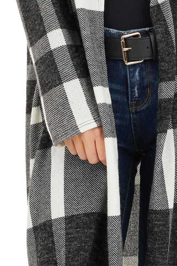 Charcoal and Cream Plaid Long Open Front Cardigan detail