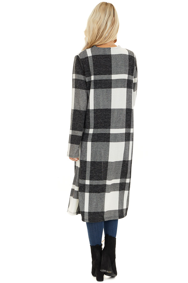 Charcoal and Cream Plaid Long Open Front Cardigan back full body