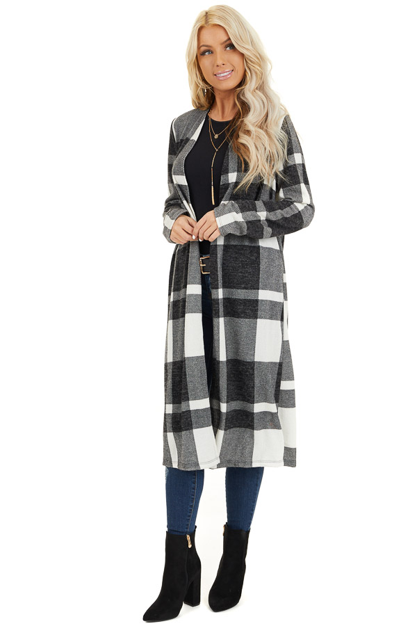 Charcoal and Cream Plaid Long Open Front Cardigan front full body