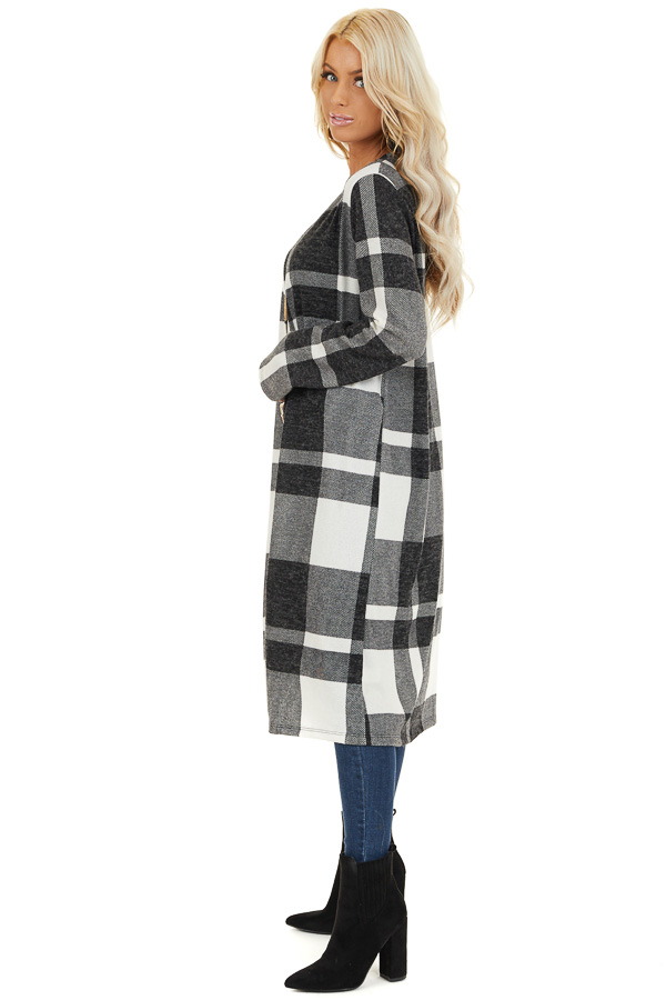 Charcoal and Cream Plaid Long Open Front Cardigan side full body