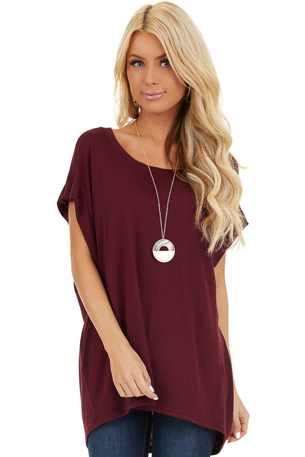 Wine Red Cap Sleeve Oversized Tee Shirt front close up