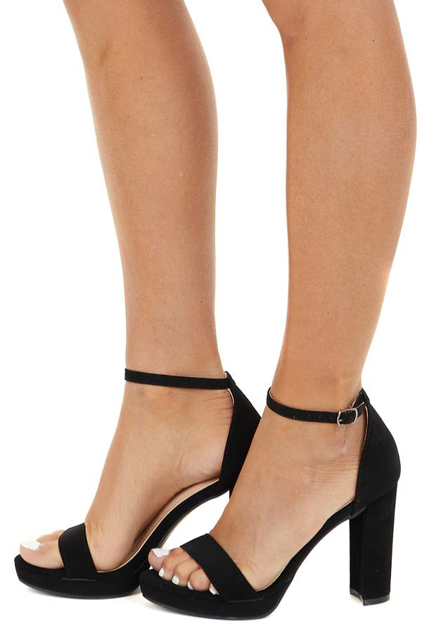 Black Open Toe High Heels with Ankle Strap and Buckle side view