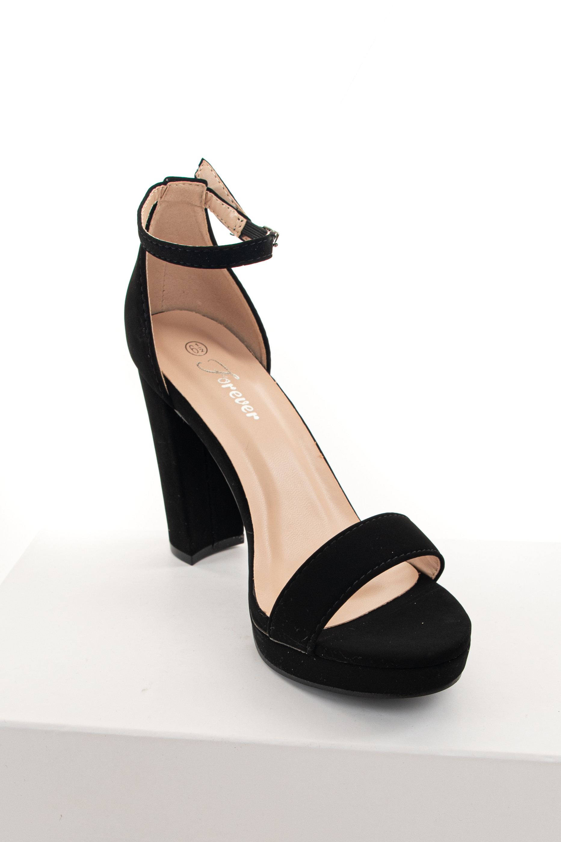 Black Open Toe High Heels with Ankle Strap and Buckle