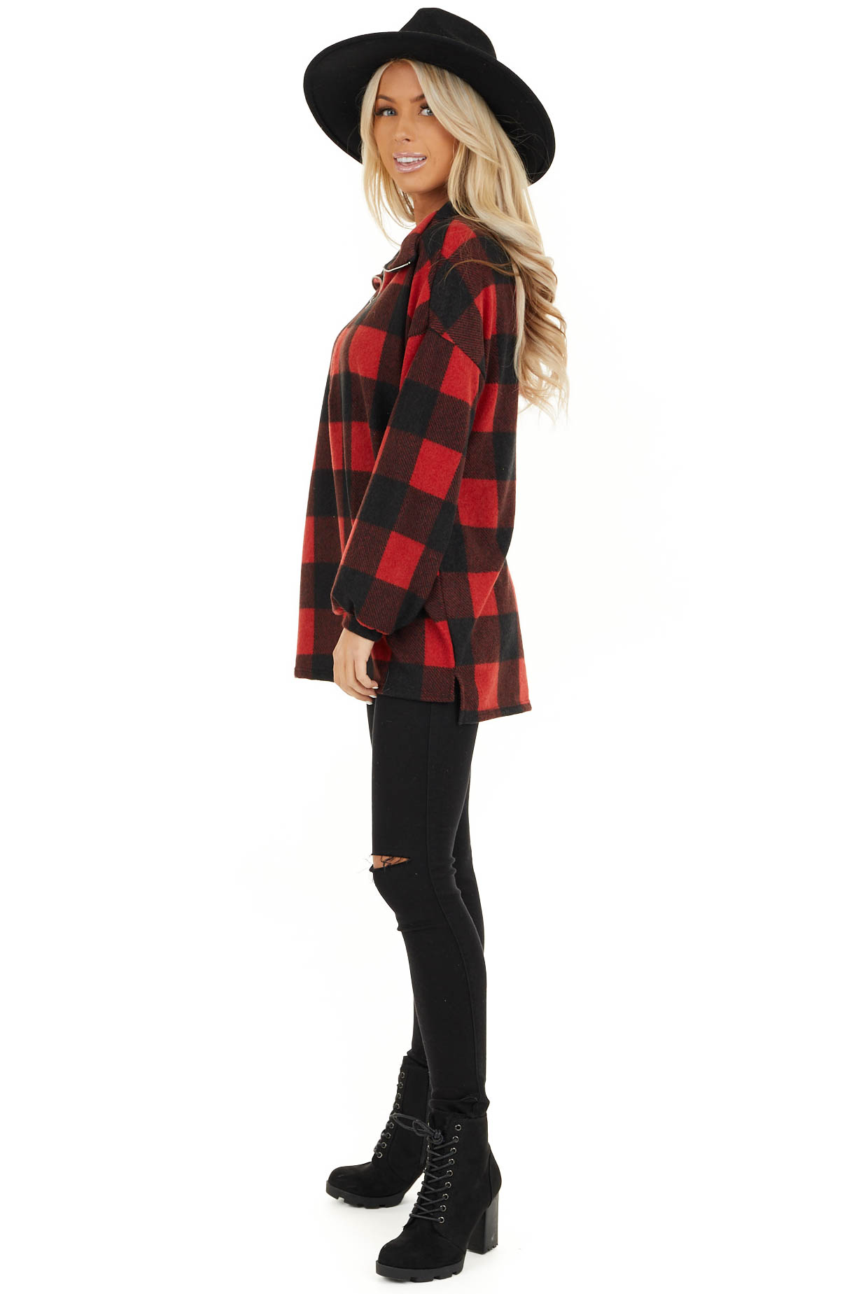 Candy Apple Red Buffalo Plaid Pullover Fleece Jacket side full body