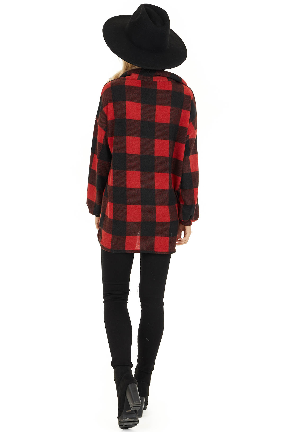 Candy Apple Red Buffalo Plaid Pullover Fleece Jacket back full body