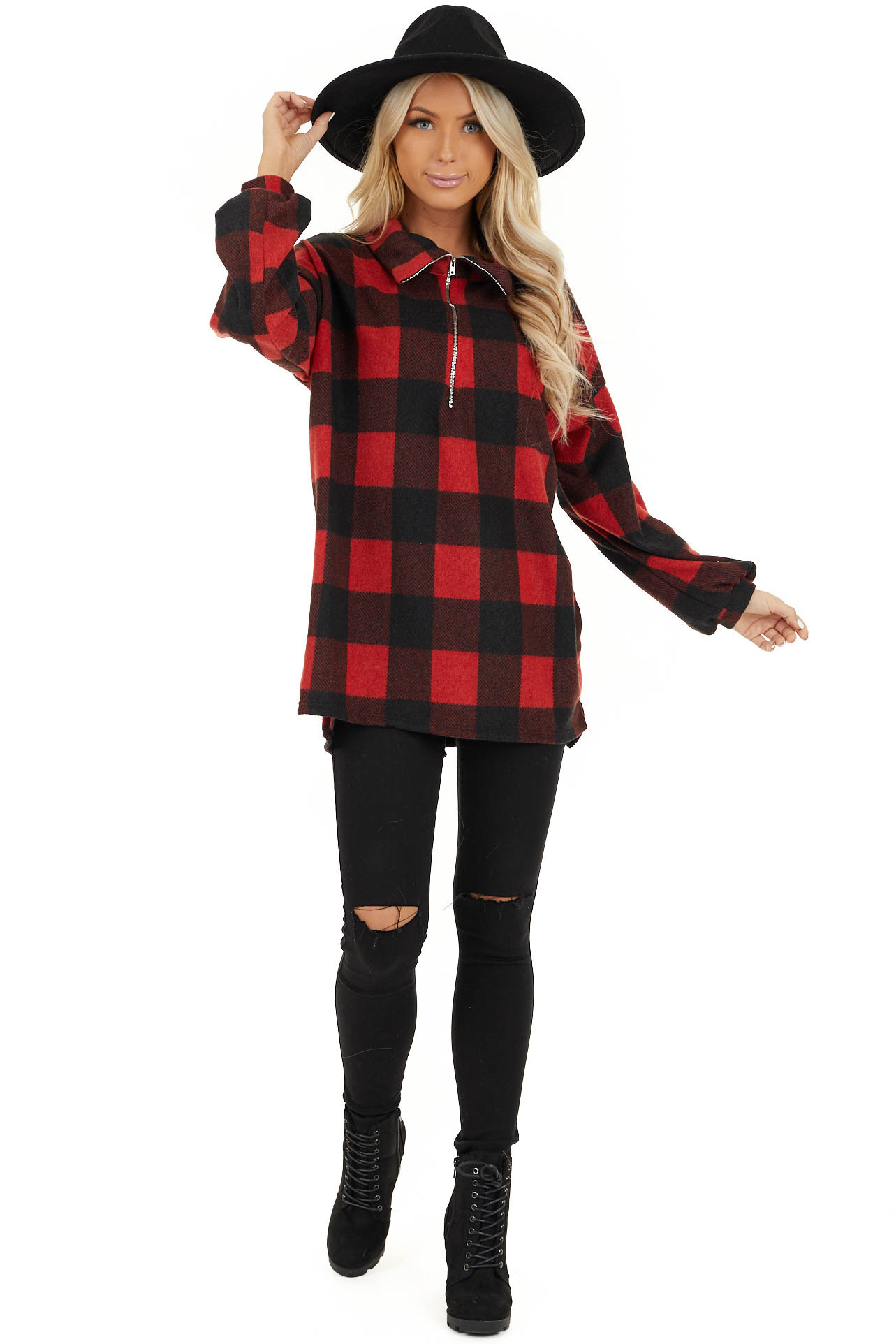 Candy Apple Red Buffalo Plaid Pullover Fleece Jacket front full body