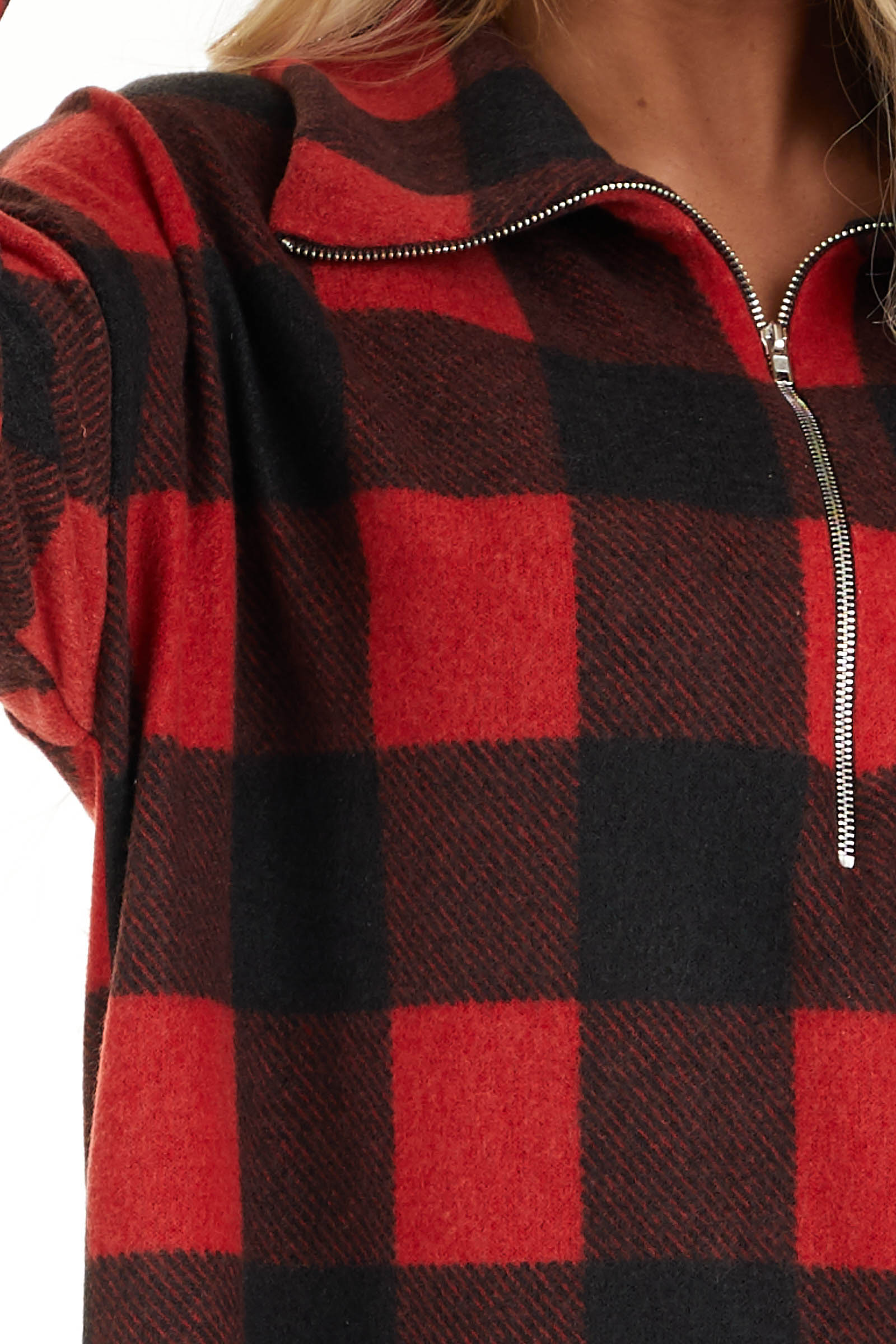 Candy Apple Red Buffalo Plaid Pullover Fleece Jacket detail