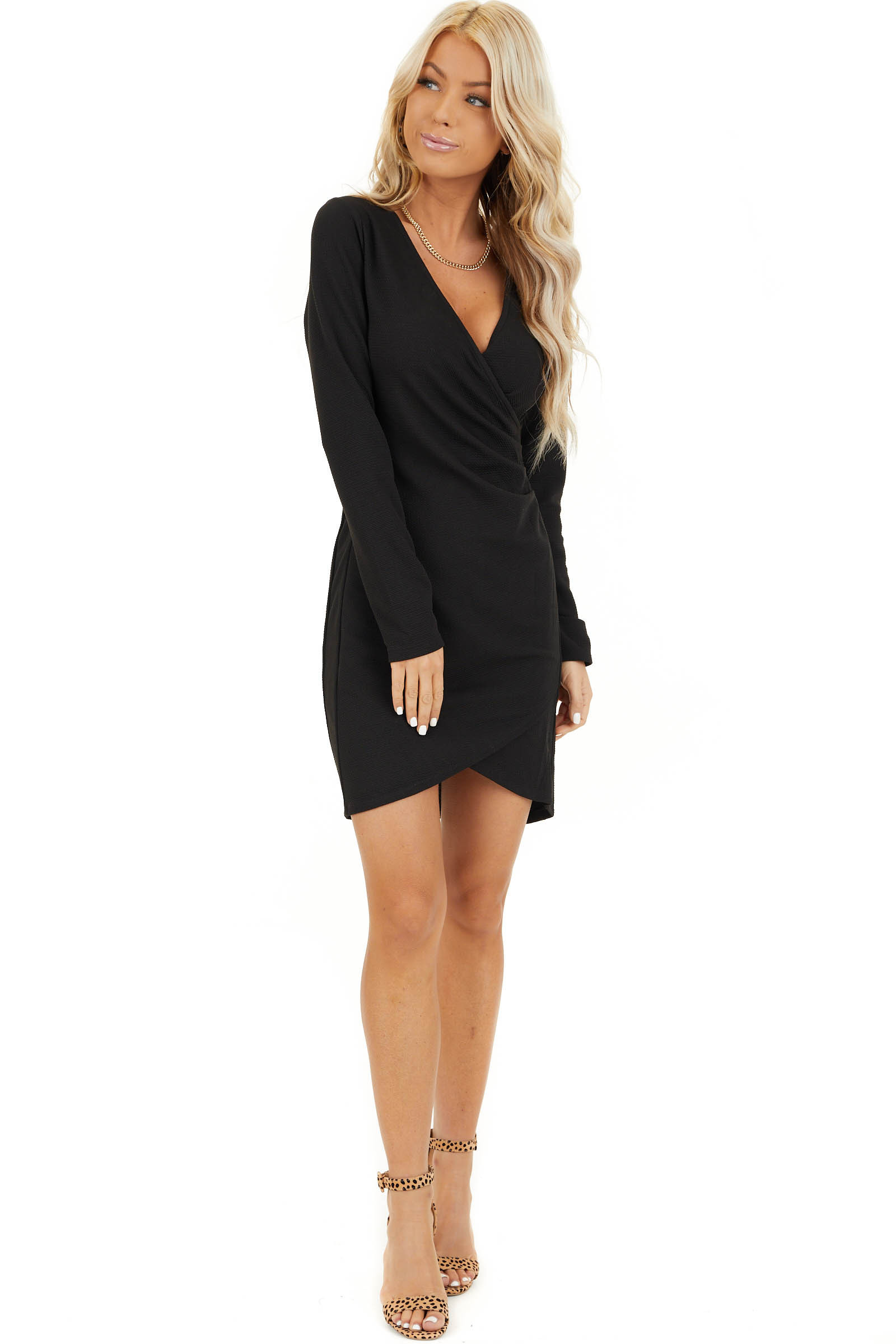 Black Surplice Mini Dress With Long Sleeves And V Neckline