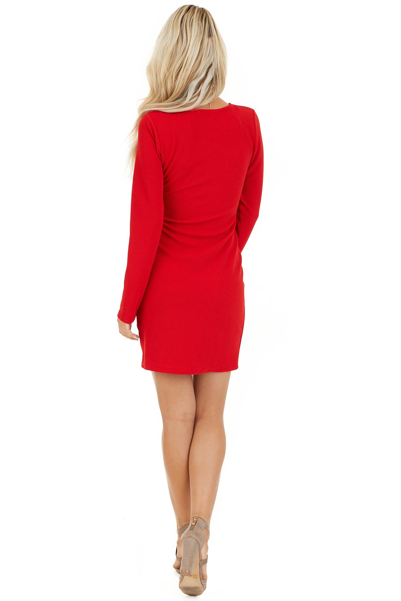 Red Surplice Mini Dress with Long Sleeves and V Neckline back full body