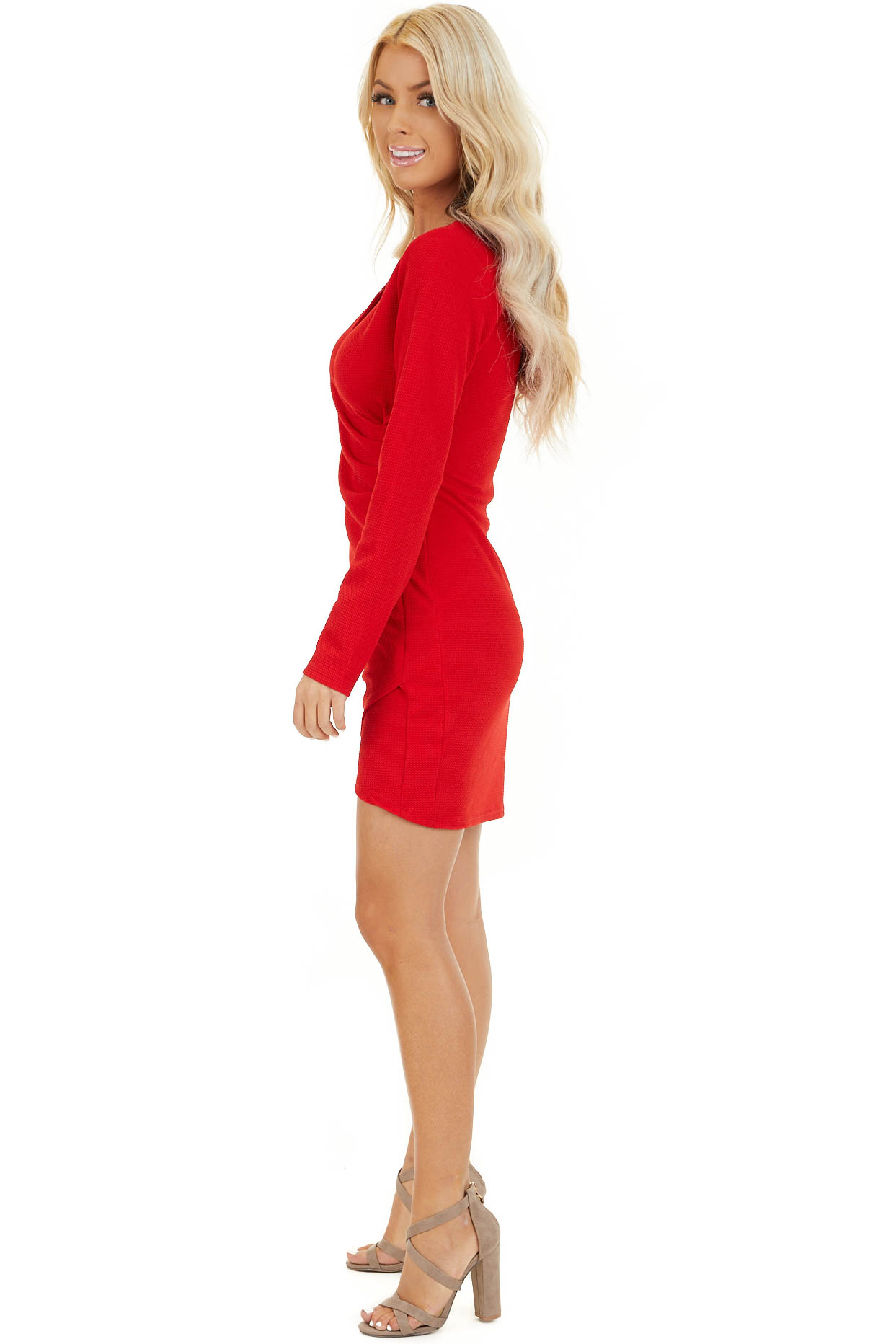 Red Surplice Mini Dress with Long Sleeves and V Neckline side full body