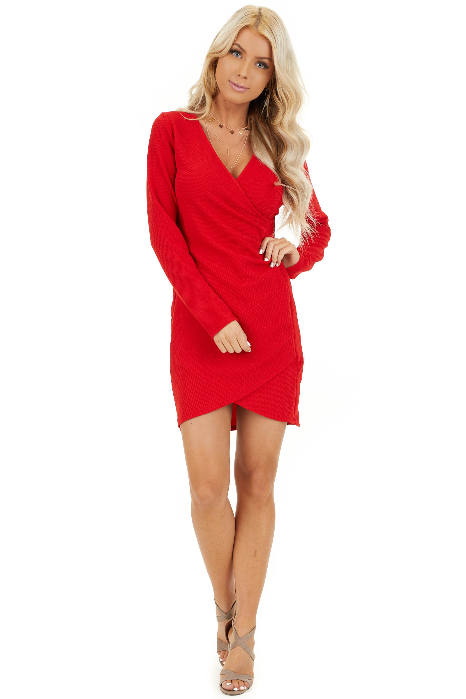 Red Surplice Mini Dress with Long Sleeves and V Neckline front full body