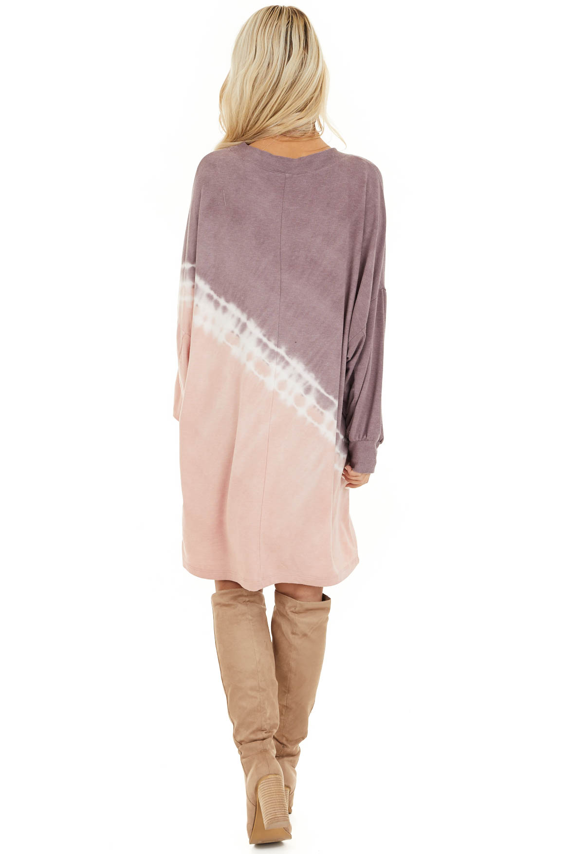 Lavender and Blush Tie Dye Mini Dress with Long Sleeves back full body