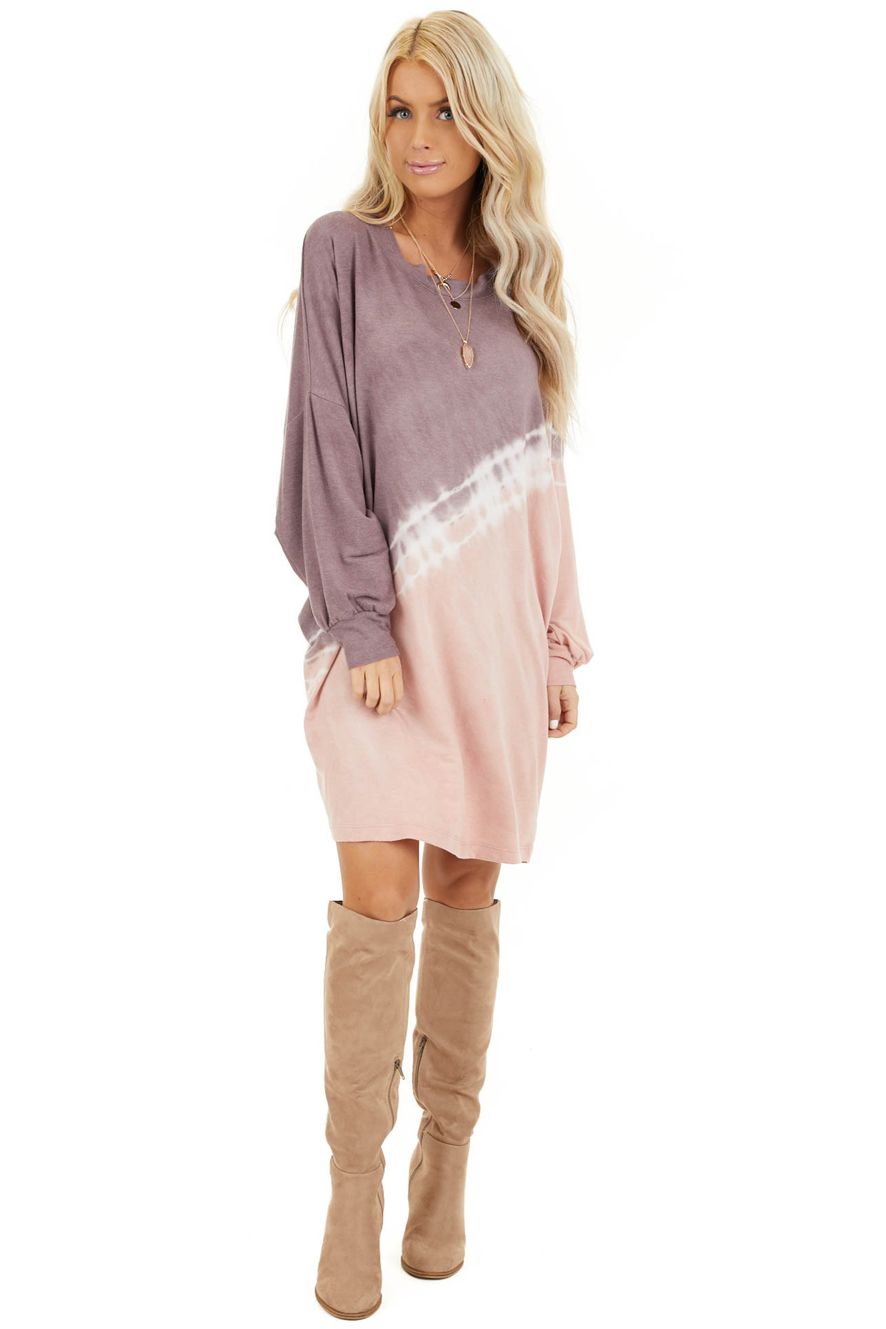 Lavender and Blush Tie Dye Mini Dress with Long Sleeves front full body