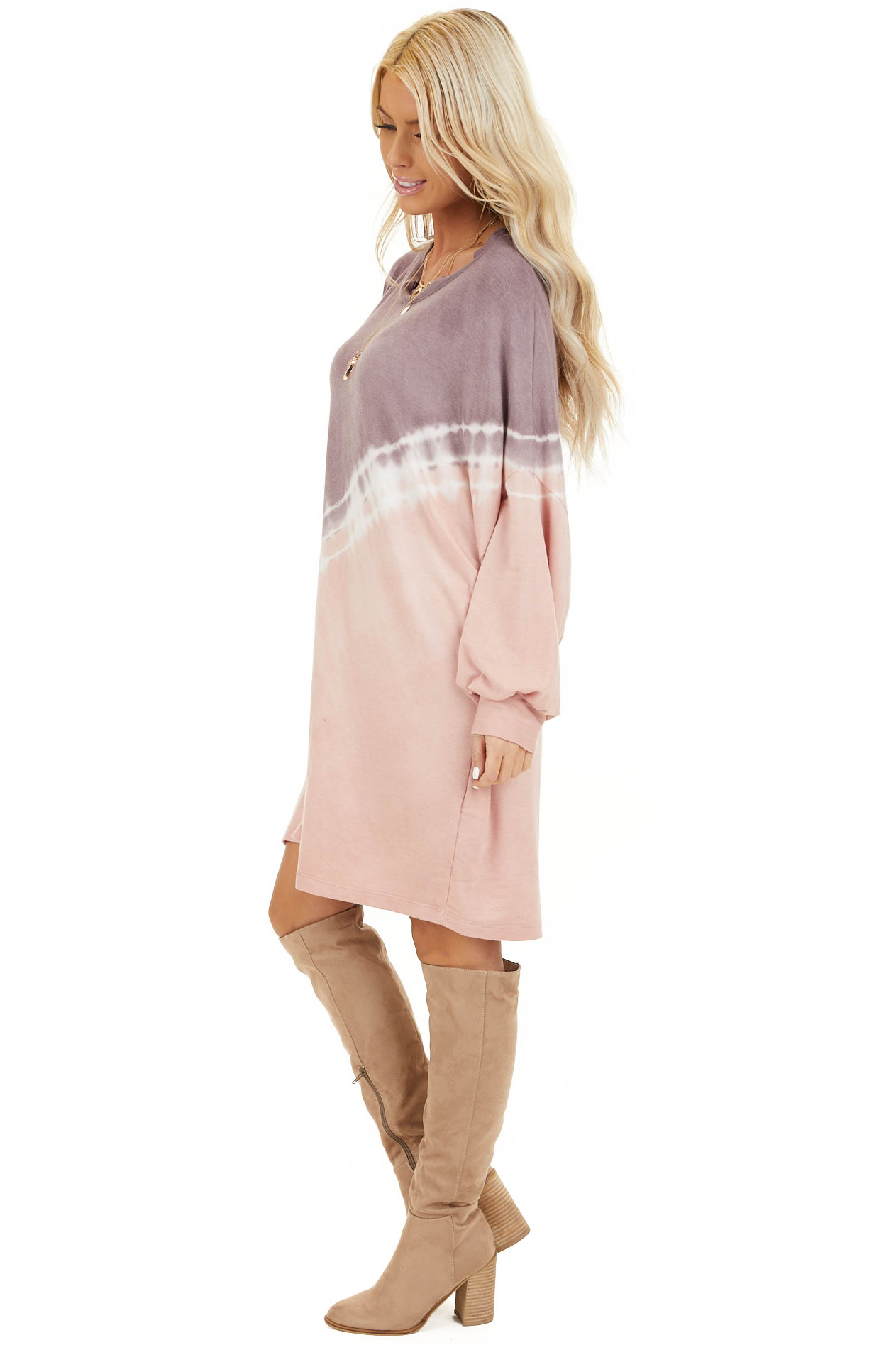 Lavender and Blush Tie Dye Mini Dress with Long Sleeves side full body