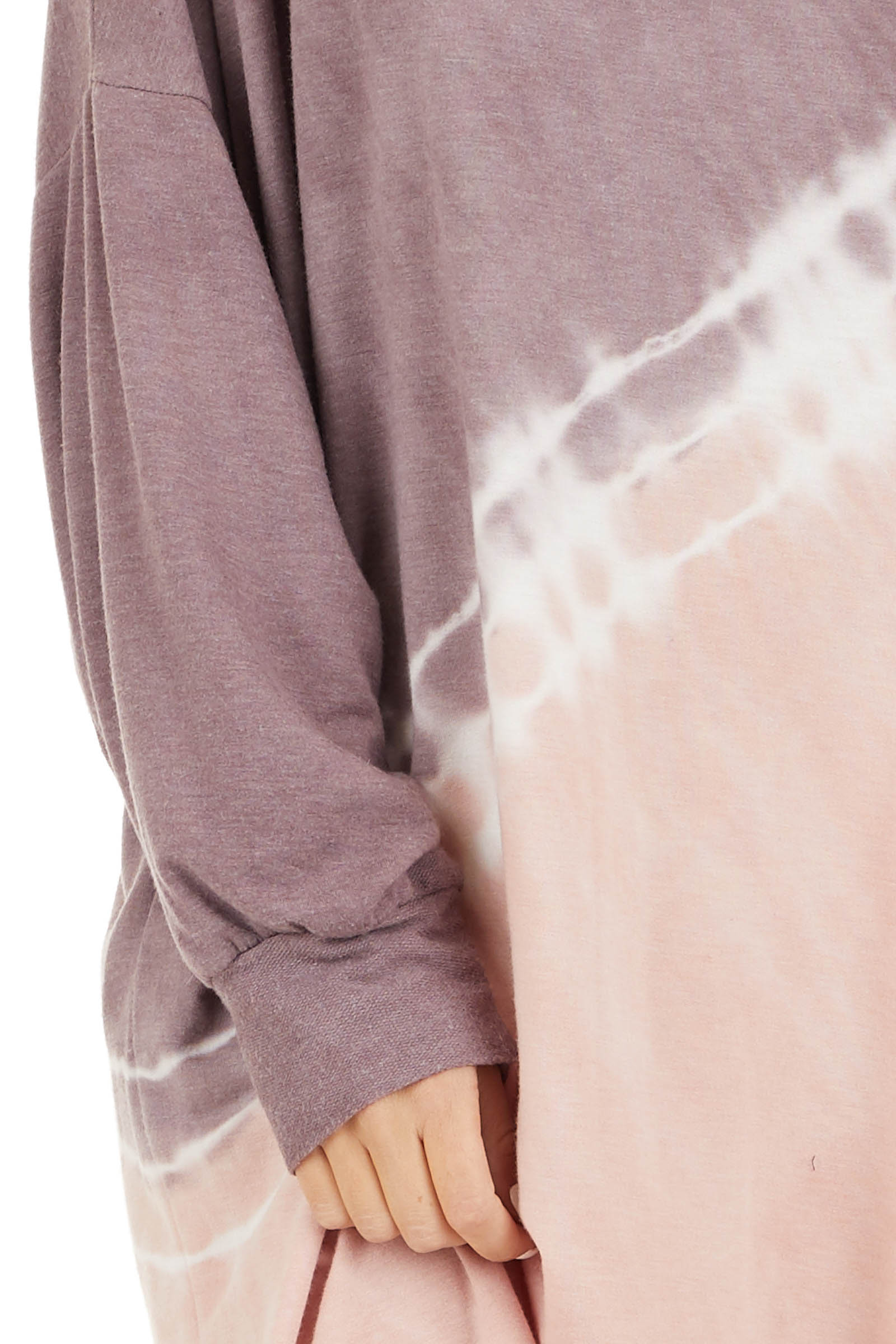 Lavender and Blush Tie Dye Mini Dress with Long Sleeves detail