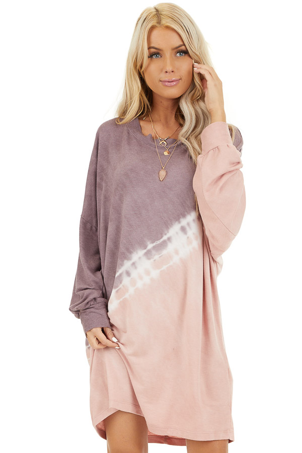 Lavender and Blush Tie Dye Mini Dress with Long Sleeves  front close up