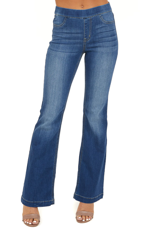 Dark Wash Denim Flare Jeggings front view