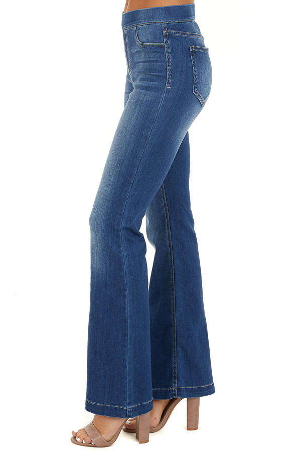 Dark Wash Denim Flare Jeggings side view