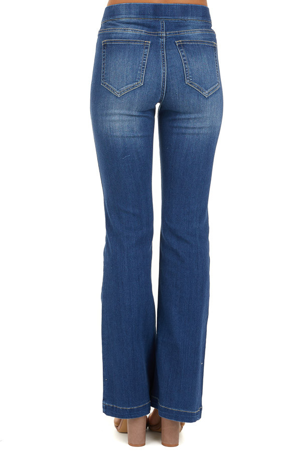 Dark Wash Denim Flare Jeggings back view