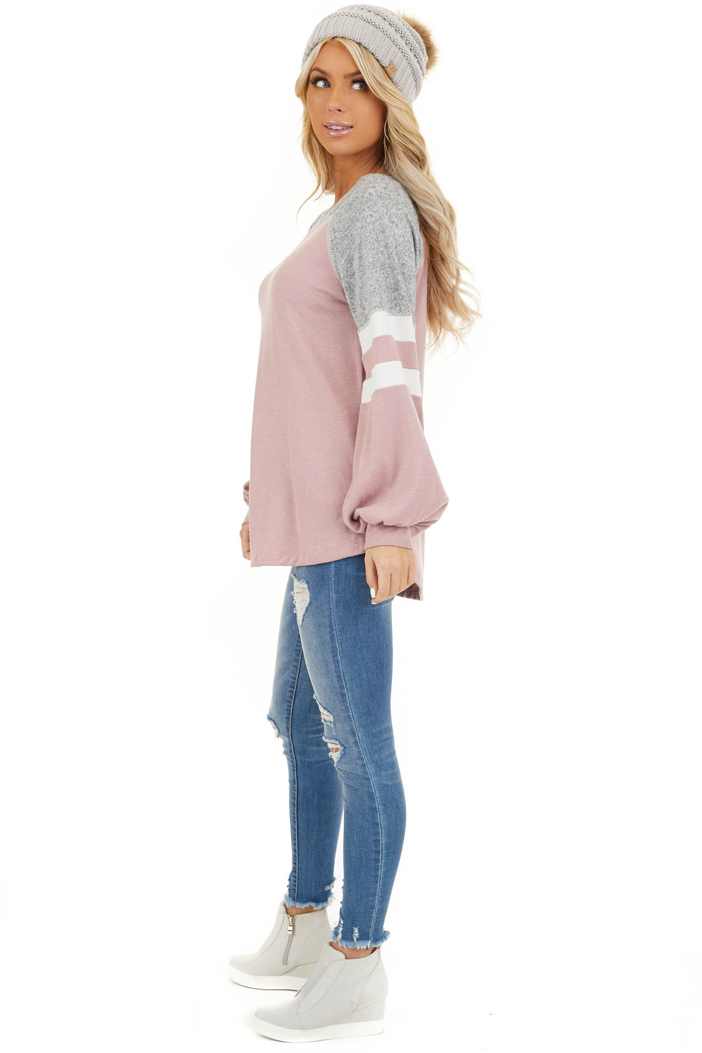 Dusty Blush and Heathered Grey Long Sleeve Knit Top side full body