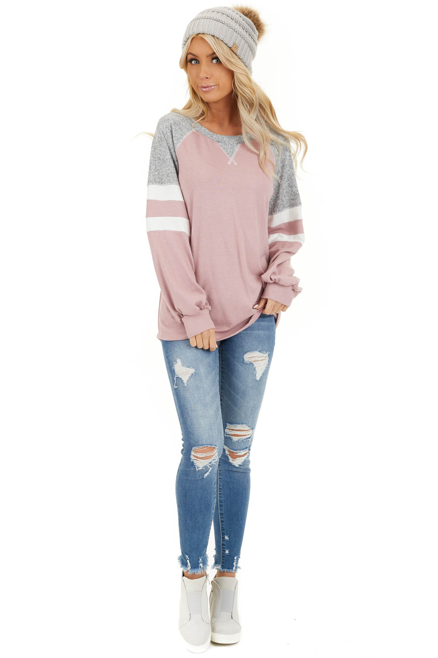 Dusty Blush and Heathered Grey Long Sleeve Knit Top front full body