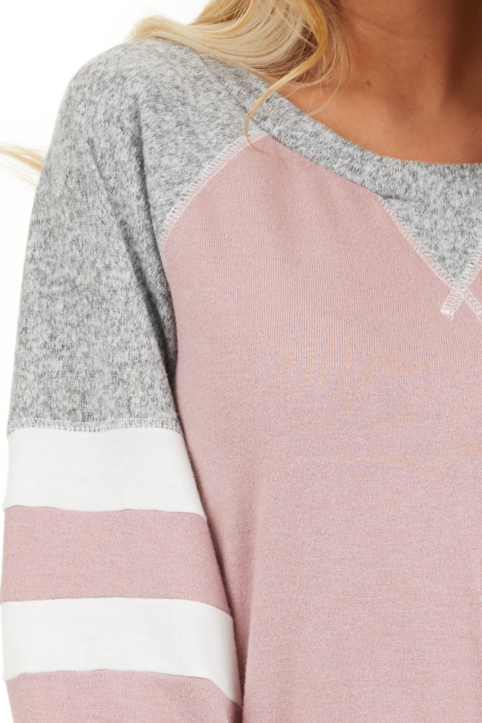 Dusty Blush and Heathered Grey Long Sleeve Knit Top detail