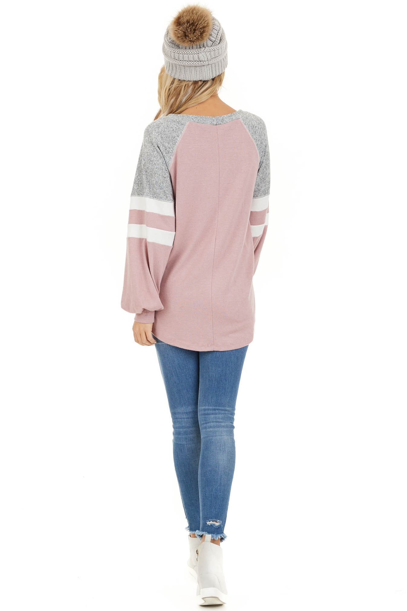 Dusty Blush and Heathered Grey Long Sleeve Knit Top back full body