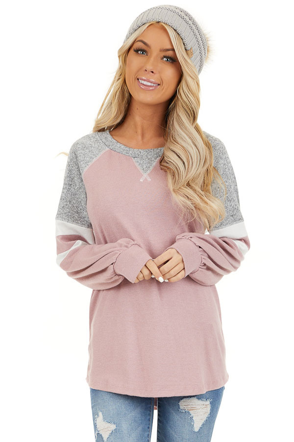 Dusty Blush and Heathered Grey Long Sleeve Knit Top front close up