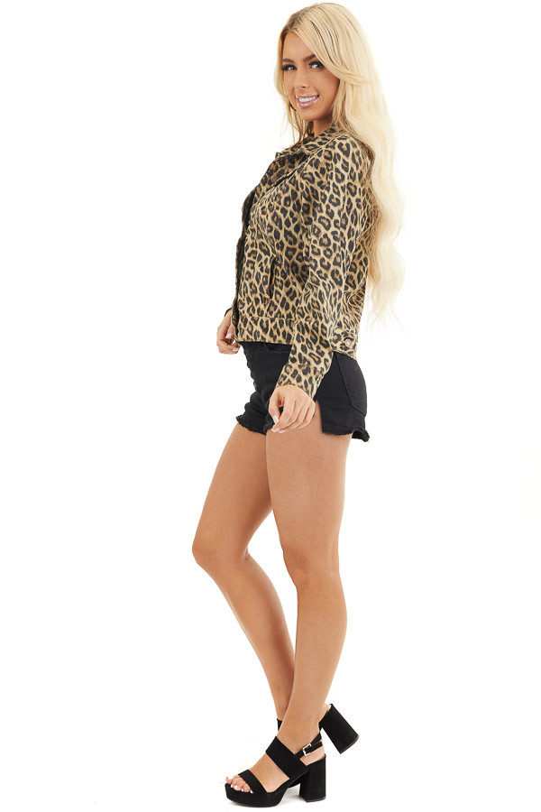 Cream and Charcoal Leopard Denim Jacket with Buttons side full body